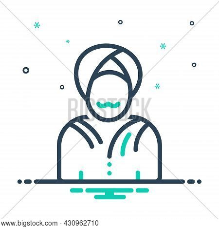 Mix Icon For Indian Turban Oriental Arab Asian Clothing Culture Traditional Sikh Eastern Fashion