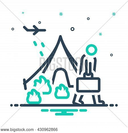 Mix Icon For Refugee Fugitive Migrant Runaway Displaced Luggage Displacement