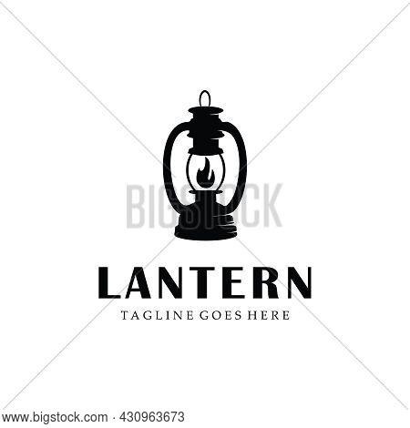 Classic Lantern Gas Fire, Street Lamp, Lantern Post, Classic Lamp Logo Icon Design , Restaurant Vint