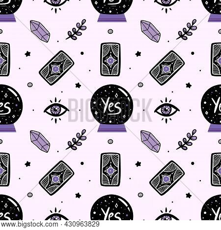 Vector Seamless Pattern Background With Crystal Ball, Mystical Eyes, Tarot Cards, Crystals And Herbs