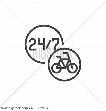 24-hour Bike Sharing Service Line Icon. Linear Style Sign For Mobile Concept And Web Design. Bicycle