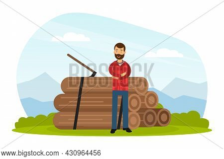 Bearded Man Lumberjack In Red Checkered Shirt Standing Near Pile Of Logs And Wood Chopper Vector Ill