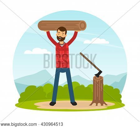 Bearded Man Lumberjack In Red Checkered Shirt Working With Wood Chopper And Lumber Vector Illustrati
