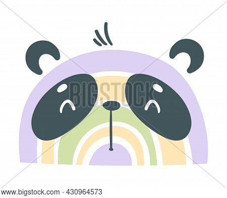 Cute Rainbow Panda Bear For Childish Nursery Decor Vector Illustration