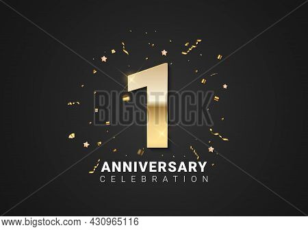 1 Anniversary Background With Golden Numbers, Confetti, Stars On Bright Black Holiday Background. Ve