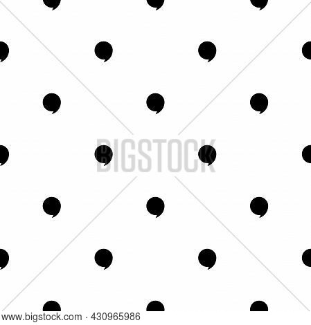 Seamless Pattern With Black Quote Marks On White Background. Education Seamless Texture. Reading, St