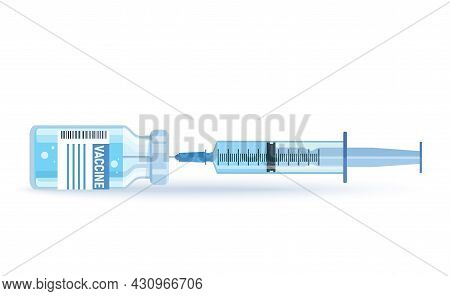 Bottle And Syringe With Blue Vaccine Injection From Covid-19 Virus. Covid-19 Coronavirus Concept. Sy