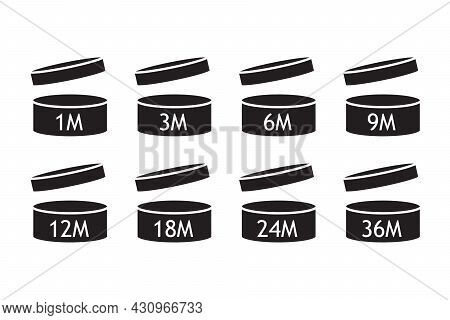 Pao Cosmetic Open Jars Line Icons Isolated On White. Expiration Period Months. Cosmetics Symbol Coll