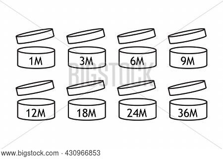 Period After Open Icons Collection. Isolated Pao Symbol On White Background. Expire Date From 1 To 4
