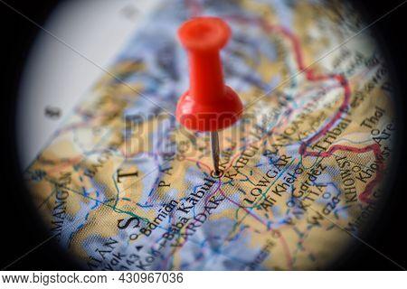 Binocular View Of Kabul, Afghanistan Globe Map Atlas Geography Landmark With Red Push Pin Thumbtack