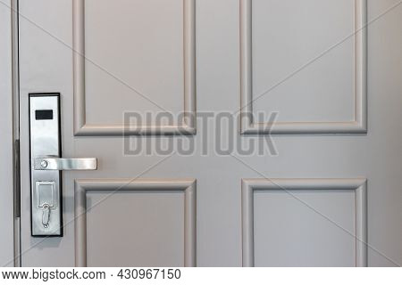 Digital Door Lock Security Systems For Good Safety Of Apartment Door. Electronic Door Handle Inside