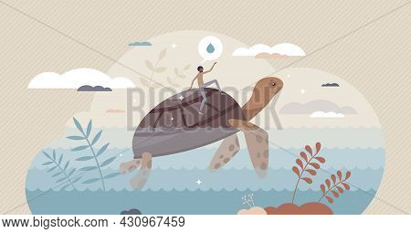Clean Ocean And Clear Sea With Water Wildlife Protection Tiny Person Concept. Environmental Climate