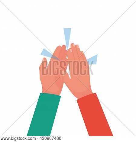 Two Hands Clapping. Five Gesture. Hands Together. Teamwork And Friendship. People Unity. Vector Illu
