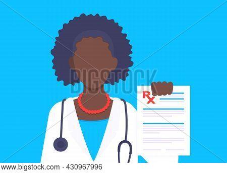 Medical Rx Form Prescription Flat Style Design Vector Illustration. Doctor Holds Paper Rx Form Appli