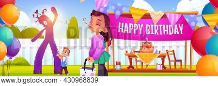 Happy Birthday Poster With Party Decorations On Backyard And Children. Vector Banner With Cartoon Il