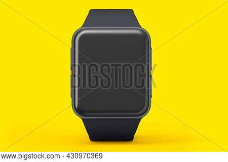 Stainless Silver Smart Watch Or Fitness Tracker Isolated On Yellow Background.