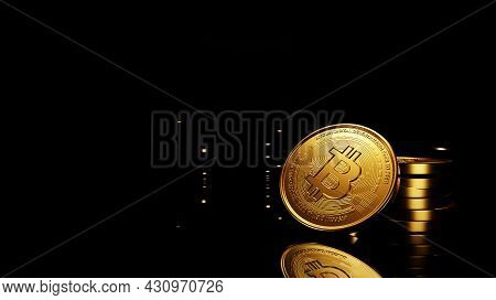 3d Render, Golden Coins Digital Currency, Bitcoin, Btc, Cryptocurrency Coins Background, Stock Marke