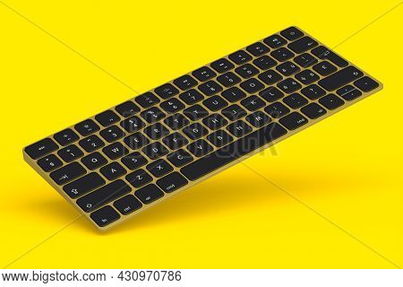 Modern Gold Aluminum Computer Keyboard Isolated On Yellow Background.