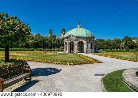 Hofgarten Park With Dianatempel In Munich. The Diana Pavilion And The Grounds Of The Hofgarten, Adja