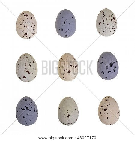 Speckled chocolate Easter eggs isolated on white. Tic Tac Toe formation.