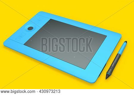 Graphic Tablet And Pen For Illustrators, Designers And Photographers On Yellow