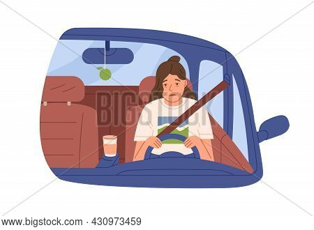 Sleepy Tired Woman Driver In Car. Drowsy Asleep Person Driving Auto. Female Sleeping During Ride Ear