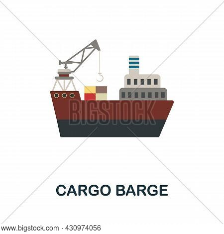 Cargo Barge Flat Icon. Simple Sign From Logistics Collection. Creative Cargo Barge Icon Illustration