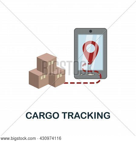 Cargo Tracking Flat Icon. Simple Sign From Logistics Collection. Creative Cargo Tracking Icon Illust