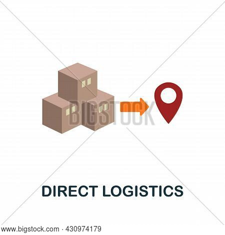 Direct Logistics Flat Icon. Simple Sign From Logistics Collection. Creative Direct Logistics Icon Il