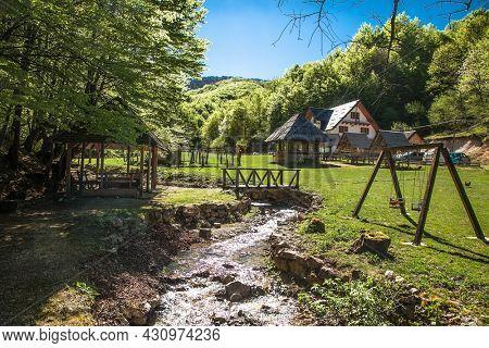 Cheerful mountain stream in beautiful bosnian mountains, Bjelasnica. Bosnia and Herzegovina.