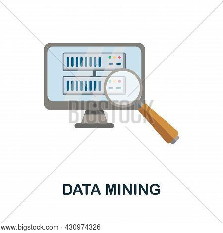 Data Mining Flat Icon. Colored Sign From Machine Learning Collection. Creative Data Mining Icon Illu
