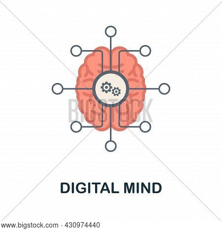 Digital Mind Flat Icon. Colored Sign From Machine Learning Collection. Creative Digital Mind Icon Il