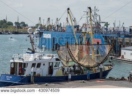 Oudeschild, Texel, The Netherlands. August 13, 2021. The Port Of Oudeschild On The Island Of Texel.