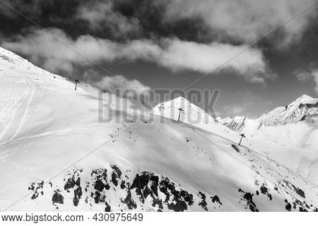 Off-piste Slope And Chair-lift On Ski Resort At Sun Day. Caucasus Mountains In Winter, Georgia, Regi