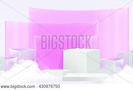 Minimal Scene With White Podium And Cloud Abstract Pink Transparent Background Scene Studio Or Pedes