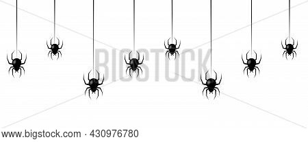 Black Spiders Hanging Web. Seamless Pattern With Hanging Spiders. Scary Background For Halloween Iso