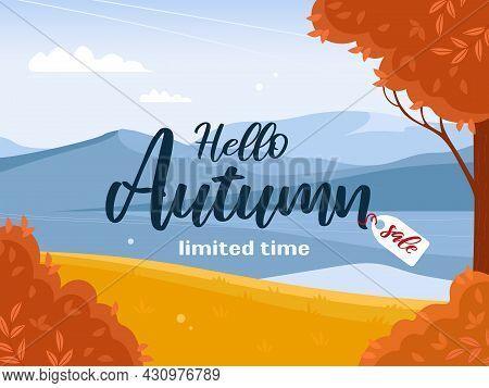 Banner Autumn Sale. Beautiful Bright Landscape. Mountains, Sky, White Clouds. Azure Mirror Water Sur