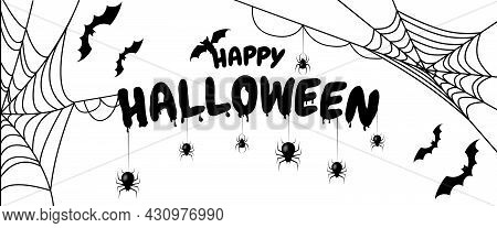 Happy Halloween Text Banner. Vector Illustration Isolated On White Background
