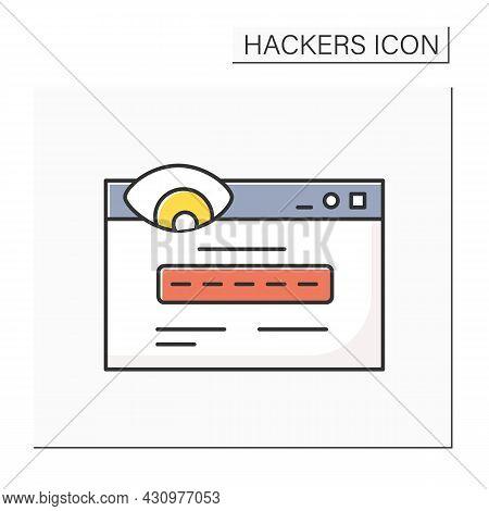 Fake Url Color Icon. Clickjacking Web Link Or Website Form Linear Pictogram. Concept Of Webpage Scam