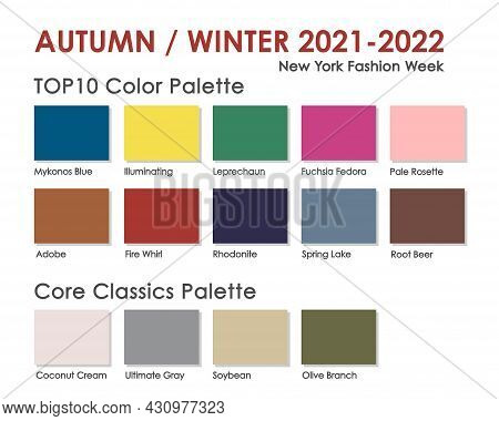 Autumn | Winter 2021 2022 Trendy Color Palette. Fashion Color Trend. Palette Guide With Named Color