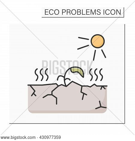 Soil Eruption Color Icon. Plant Suffering Drought And Land Degradation. Concept Of Farming And Agric