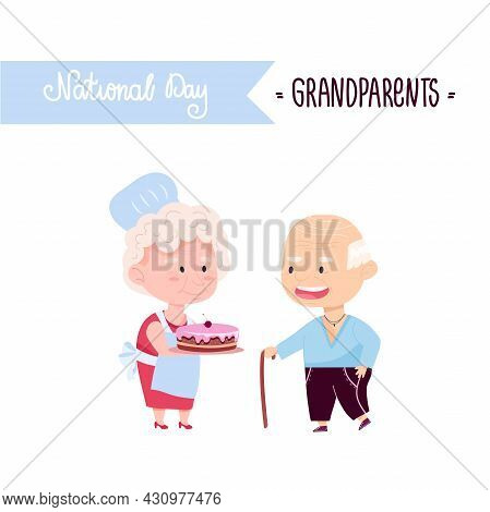 National Grandparents Day. Lovely Grandfather With Grandmother And Pie. Vector Illustration Of Elder