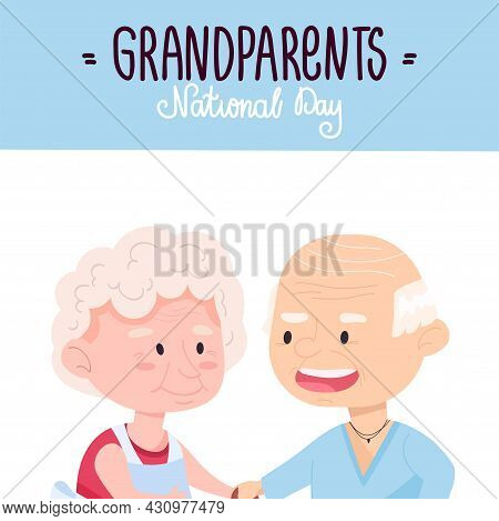 National Grandparents Day. Lovely Grandfather With Grandmother. Vector Illustration Of Elderly Peopl