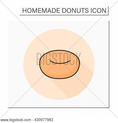 Yeast Doughnut Color Icon. Fresh And Tasty Fluffy Texture Home Baked Donuts. Concept Of Appetizing F