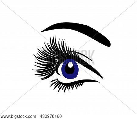 Long Eyelashes And Eyebrows. Eyelash Extension. Beauty Saloon. Vector Illustration.