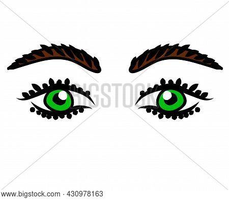 Long Eyelashes And Eyebrows. Green Eyes. Eyelash Extension. Beauty Saloon. Vector Illustration.