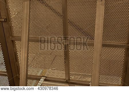 Metal Fence In The Forest. Modern Metal Fencing