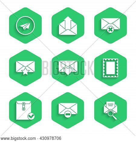 Set Envelope With Valentine Heart, Delete Envelope, Magnifying Glass, Postal Stamp, And Check Mark,