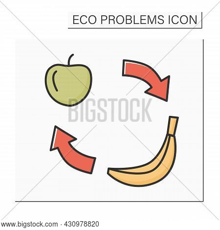 Food Change Color Icon. Apple And Banana With Cycle Arrows. Concept Of People And Animals Nutrition