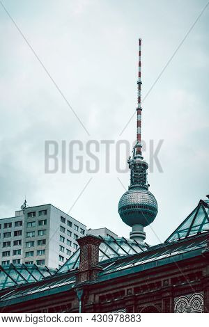 Berlin, Germany - July 30, 2019: Cityscape Of Berlin With Tv Tower Against Cloudy Sky.